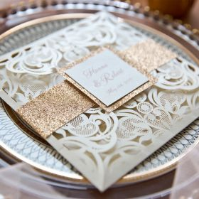 luxury rose gold laser cut wedding invites with glittery bottom card and belly band EWTS038-1