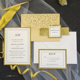 luxury pale butter laser cut pocket wedding invitations with glitter bands and tags EWWS190-8