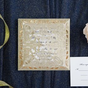 elegant and luxury pale gold glitter wedding invitations with glitter mirror paper bottom EWWS191
