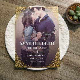 modern custom gold foil dots save the date cards EWSTD055