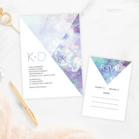 Modern watercolor and geometric pattern wedding invitation EWIW001