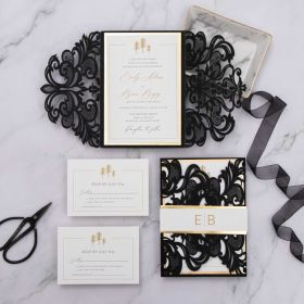 modern black and gold laser cut wedding invitation with gold mirror customized belly band EWDK015-1