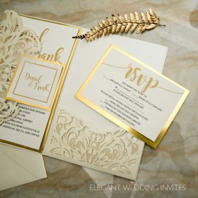 modern ivory laser cut invitation with mirrored backer and printed tag  EWWS264