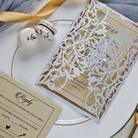 modern white shimmer and rose gold laser cut wedding invitation suite EWWS225