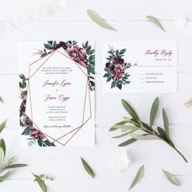 mystic geometrics-plum watercolor floral modern geometric wedding Invitation EWIS004