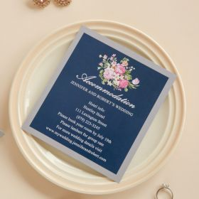 navy blue floral silver accommodation cards EWWS090A