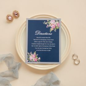 navy blue floral silver direction cards EWWS090F