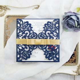 Navy blue beauty and the beast laser cut wedding invitation cards EWWS196