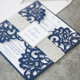 navy blue laser cut wedding invitations with glitter belly band and tag EWWS198
