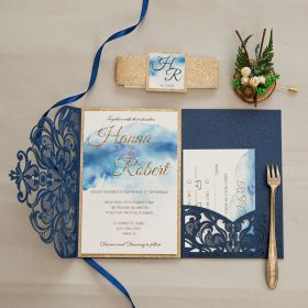 Navy Laser Cut Fold and Watercolor Invitation and Rose Gold Glittery Backer EWWS260