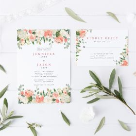 Peach and white floral wedding invitations EWIS002