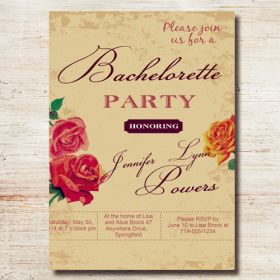 country rustic floral custom invites for bachelorette party EWBI008