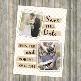 warm sweet couple photo save the date cards EWSTD037