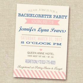 blue and pink invitation cards for bachelorette parties EWBI003