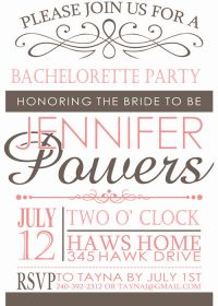 pink and brown vintage bachelorette invitation cards affordable EWBI006