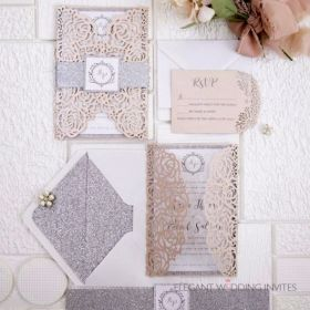 pink and silver rose laser cut wedding invitations with monogram belly band design EWTS073-1