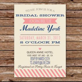 Vintage pink invitation to bridal shower EWBS017