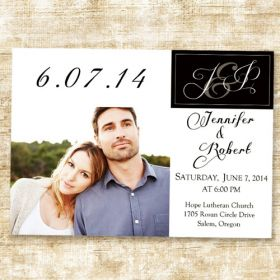 Stylish Simple White and Black Photo Wedding announcements EWA019