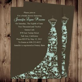 Cheap brown floral gown bridal shower invitations printable EWBS018