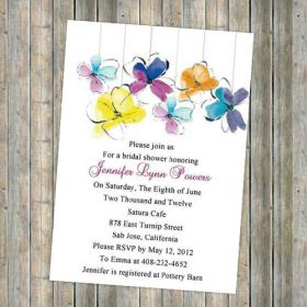 unique colorful flower summer bridal shower invitations EWBS014