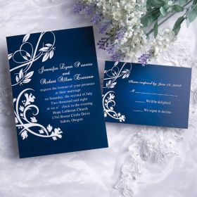 Elegant blue damask card EWI004-1