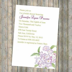Printable purple floral bridal shower invitations EWBS025