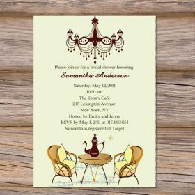 Inexpensive tea party bridal shower invitations EWBS026