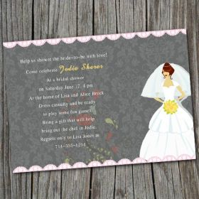 wedding dress gray and pink bridal shower cards EWBS012