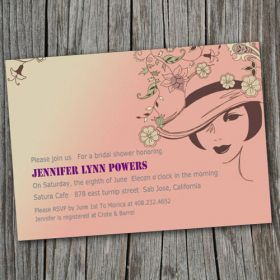 western pink cheap bridal shower invitation EWBS004