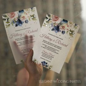 raised uv printing technology on translucent vellum stock featuring blush flowers and navy touches EWUV035