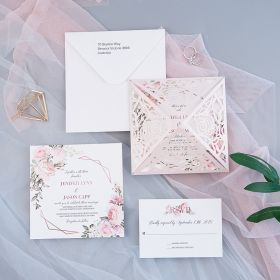 romantic blush floral geometric rose pattern laser cut wedding invitations EWDM002-1