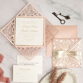 romantic blush rose pattern laser cut wedding invitations with ribbons EWWS293-1