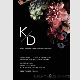 Romantic floral and black background wedding invitation EWIW002