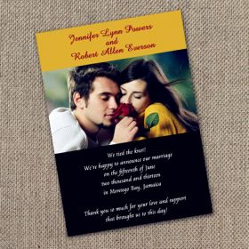 Printable Rose Yellow and Black Photo Wedding Announcements Cards EWA002
