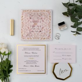 romantic blush pink laser cut gold foil stamped wedding invitations EWWS110-1