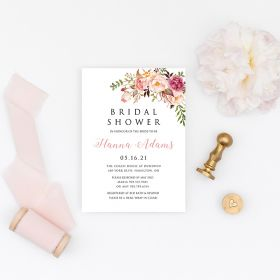 romantic blush pink spring flower bridal shower invitation EWBS062