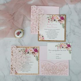 romantic blush pink spring flower glittery laser cut wedding invitation EWWS201