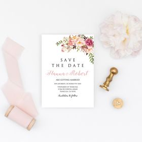 romantic blush pink spring flower save the date cards EWSTD066