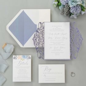 romantic lavender laser cut wedding invtes with silver glitter paper EWDK017-1