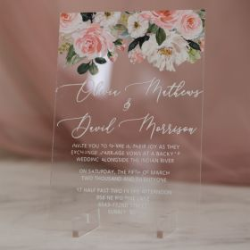 romantic pink floral acrylic wedding invitation with UV printing  EWIA012-3