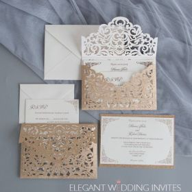 the grand invite rose gold glittery laser cut envelopment with classic invitation EWWS271