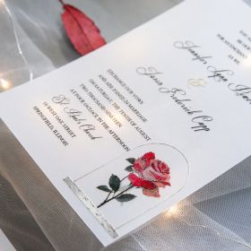 elegant beauty and the beast inspired rose UV printing wedding invites on Vellum paper EWUV024
