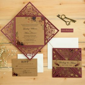 rustic burgundy laser cut wedding invites with floral kraft paper and belly band EWWS303-1