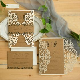 rustic ivory laser cut wedding invites green florals on kraft paper EWWS301-1