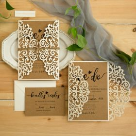"rustic ivory laser cut wedding invites with ""we do"" kraft invitation and twine EWWS300"