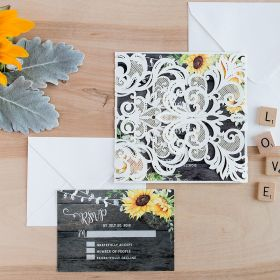 Rustic watercolor sunflower wedding invitation on barn wood background EWDK003-1