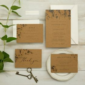 rustic greenery design wedding invitation with toned kraft paper EWIS009
