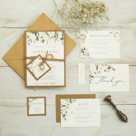 rustic greenery wedding invitation with earth toned kraft backing card EWIS008