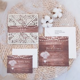 Rustic Times-Ivory Laser Cut Fold invitation with realistic wood background and street light EWWS246