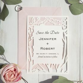 rustic tree stringlights laser cut wedding save the date cards EWSTD056